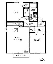 茨城県日立市十王町友部の賃貸アパートの間取り