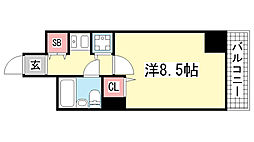 ライオンズプラザオータニ神戸[502号室]の間取り