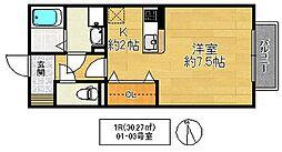 ハーフタイムIMAZU 1階ワンルームの間取り