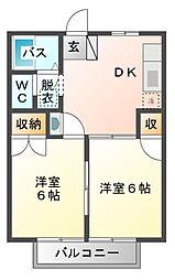 埼玉県さいたま市見沼区大字新堤の賃貸アパートの間取り