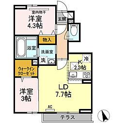 東京都杉並区宮前3丁目の賃貸アパートの間取り