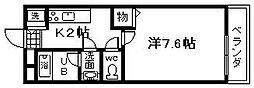 大阪府岸和田市春木若松町の賃貸アパートの間取り