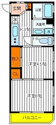 東京都立川市羽衣町1丁目の賃貸マンションの間取り