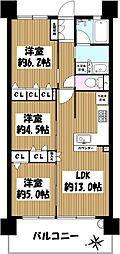 プレサンスレジェンド六地蔵 3階3LDKの間取り