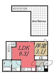JR総武線 千葉駅 徒歩14分の賃貸アパート 2階1LDKの間取り