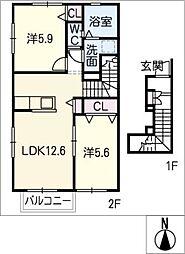 LA・FERIOII[2階]の間取り