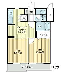 ライオンズマンション新宿原町[5階]の間取り