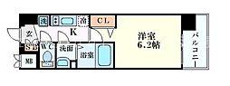 プレサンスOSAKA三国ネオス 3階1Kの間取り
