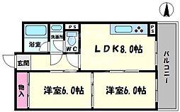 高津ゴールデンハイツ 3階2LDKの間取り