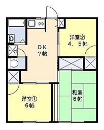三橋ハイツA[102号室]の間取り