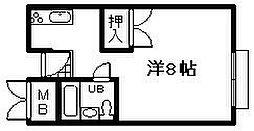 田中マンション 3階ワンルームの間取り