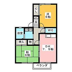 アポロタウン海津 B[2階]の間取り