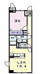 栃木県宇都宮市江曽島3丁目の賃貸マンションの間取り