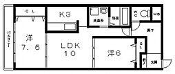 アーク八戸ノ里[605号室号室]の間取り