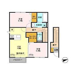 茨城県土浦市中の賃貸アパートの間取り