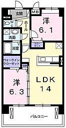 埼玉県さいたま市岩槻区美園東2丁目の賃貸マンションの間取り