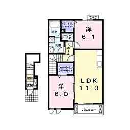 長野県小諸市大字加増の賃貸アパートの間取り