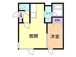 サンライト・ハウス 2階1DKの間取り