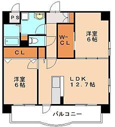 福岡県福岡市博多区大字板付の賃貸マンションの間取り