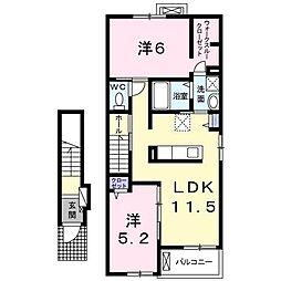 フィデール B棟[2階]の間取り