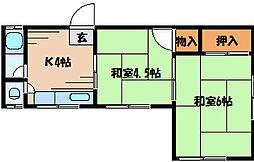 広島県安芸郡府中町浜田3丁目の賃貸アパートの間取り