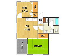 兵庫県伊丹市桜ケ丘7丁目の賃貸マンションの間取り