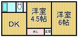 西鎌倉ハイツ[1-A号室]の間取り