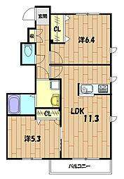 MIMOZA HOUSE  B[101号室]の間取り