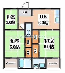 大阪府東大阪市日下町3丁目の賃貸マンションの間取り