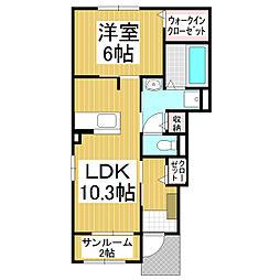 JR小海線 美里駅 徒歩9分の賃貸アパート 1階1LDKの間取り