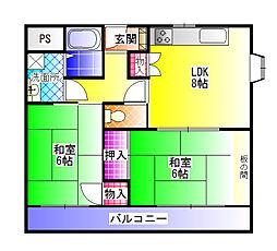 東山ハイツ[4階]の間取り