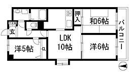 兵庫県西宮市上ケ原六番町の賃貸マンションの間取り