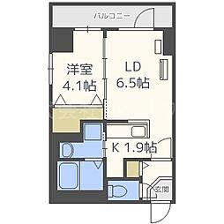 アルファスクエア南6条 9階1DKの間取り