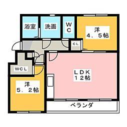なるみグリーンコーポ5号棟[3階]の間取り