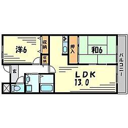 ツイン武庫川イースト・ウエスト[4階]の間取り