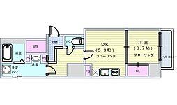 Osaka Metro中央線 阿波座駅 徒歩1分の賃貸マンション 2階1DKの間取り