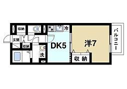 奈良県奈良市学園中1丁目の賃貸アパートの間取り