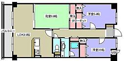 兵庫県西宮市中浜町の賃貸マンションの間取り