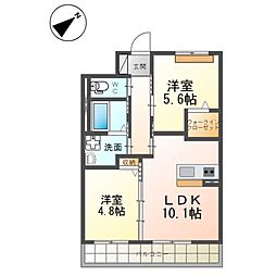 (仮)つくば市流星台新築マンション(ペット可) 1階2LDKの間取り