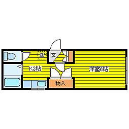 北海道札幌市東区北十九条東9丁目の賃貸アパートの間取り