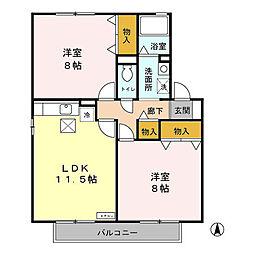 千葉県千葉市緑区おゆみ野中央9丁目の賃貸アパートの間取り