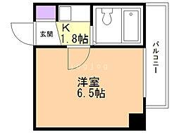 総業北14条第5ハイム 2階1DKの間取り