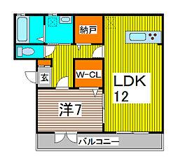 埼玉県川口市榛松1丁目の賃貸アパートの間取り
