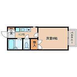 静岡県静岡市清水区草薙1丁目の賃貸アパートの間取り