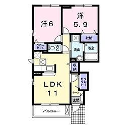 長野県長野市川中島町御厨の賃貸アパートの間取り