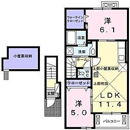 神奈川県大和市下鶴間2丁目の賃貸アパートの間取り