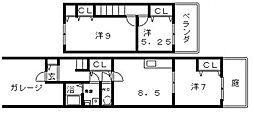 [タウンハウス] 大阪府大阪市阿倍野区文の里4丁目 の賃貸【/】の間取り