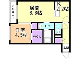 仮)宮の沢1-2MS 2階1LDKの間取り