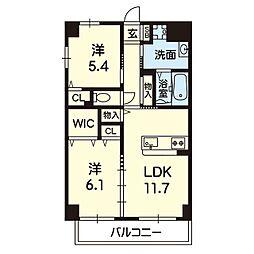 Viento島崎台II 4階2LDKの間取り