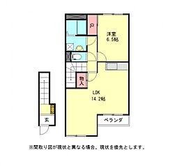 愛知県一宮市萩原町萩原字上町の賃貸アパートの間取り